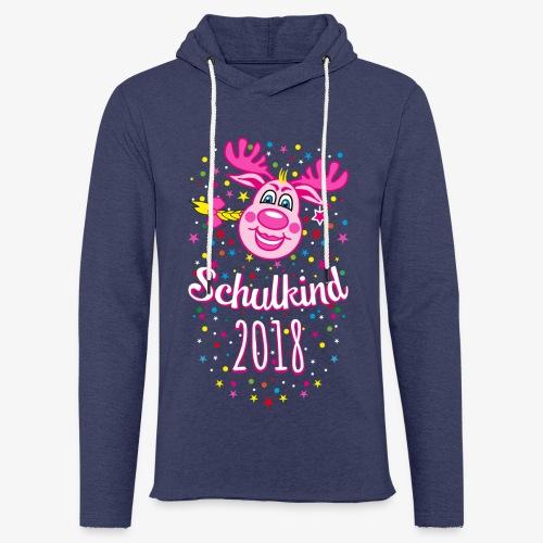 Schulkind 2018 Hirsch Rudi Pink Mädchen Glitzer 08 - Leichtes Kapuzensweatshirt Unisex