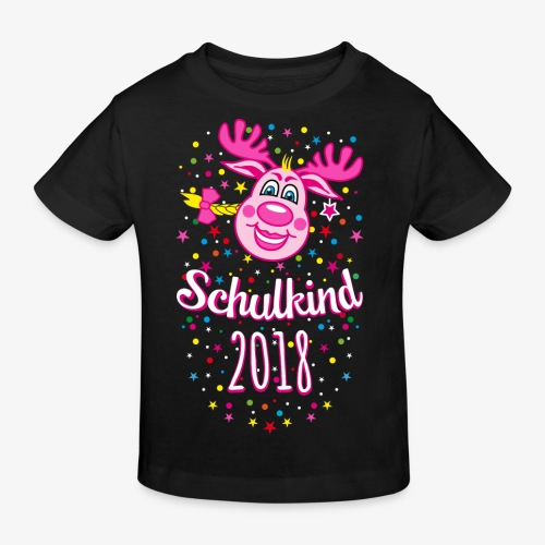 Schulkind 2018 Hirsch Rudi Pink Mädchen Glitzer 08 - Kinder Bio-T-Shirt
