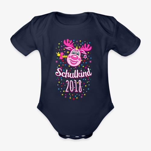 Schulkind 2018 Hirsch Rudi Pink Mädchen Glitzer 08 - Baby Bio-Kurzarm-Body