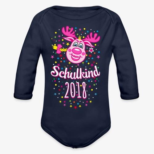 Schulkind 2018 Hirsch Rudi Pink Mädchen Glitzer 08 - Baby Bio-Langarm-Body