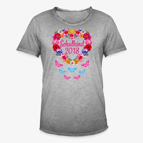 Schulkind 2018 Blumenkranz Schmetterlinge T-Shirt 16 - Männer Vintage T-Shirt