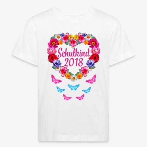 Schulkind 2018 Blumenkranz Schmetterlinge T-Shirt 16 - Kinder Bio-T-Shirt
