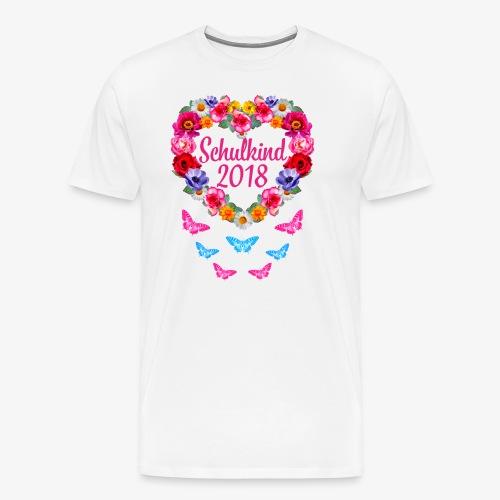 Schulkind 2018 Blumenkranz Schmetterlinge T-Shirt 16 - Männer Premium T-Shirt