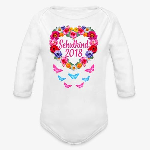 Schulkind 2018 Blumenkranz Schmetterlinge T-Shirt 16 - Baby Bio-Langarm-Body