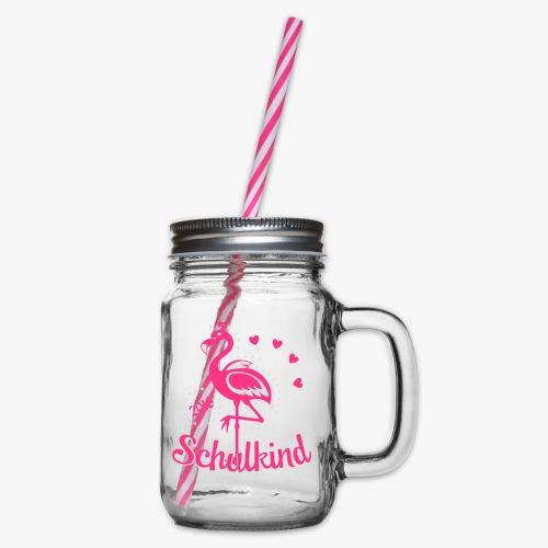 Schulkind 2018 Flamingo Sternchen Herzchen T-Shirt 17 - Henkelglas mit Schraubdeckel
