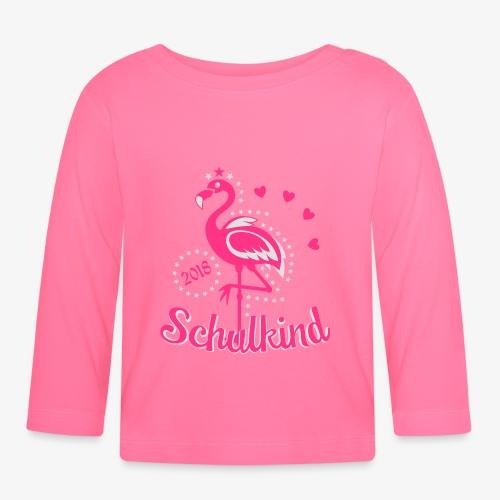 Schulkind 2018 Flamingo Sternchen Herzchen T-Shirt 17 - Baby Langarmshirt