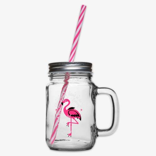Flamingo Glanzvoller Start Zukunft Schulkind T-Shirt 18 - Henkelglas mit Schraubdeckel