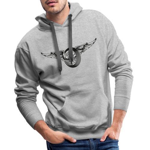 Rueda con alas - Sudadera con capucha premium para hombre