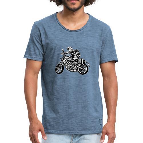Motero en la carretera - Camiseta vintage hombre