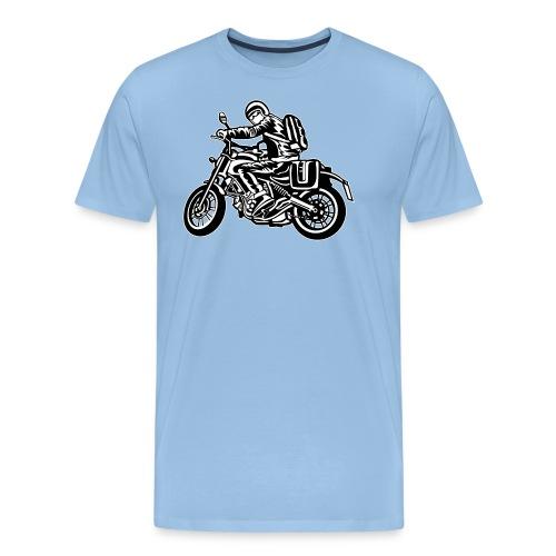 Motero en la carretera - Camiseta premium hombre