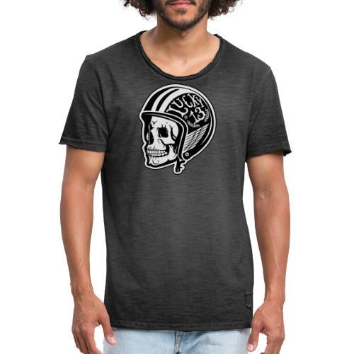 Calavera motera con casco - Camiseta vintage hombre