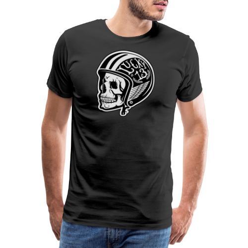 Calavera motera con casco - Camiseta premium hombre