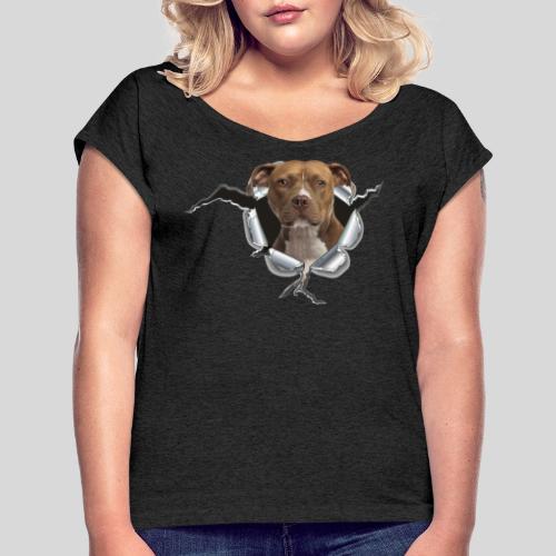 American Staffordshire Terrier *Metall-Loch* - Frauen T-Shirt mit gerollten Ärmeln