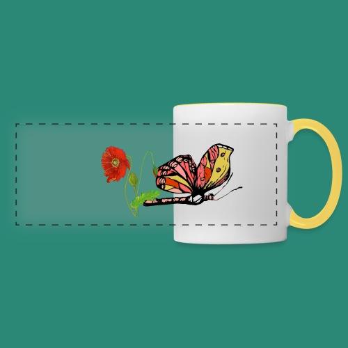 Mohnblumen und Schmetterling - Panoramatasse