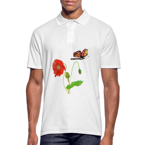 Mohnblumen und Schmetterling - Männer Poloshirt