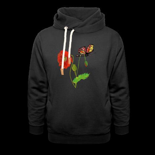 Mohnblumen und Schmetterling - Schalkragen Hoodie