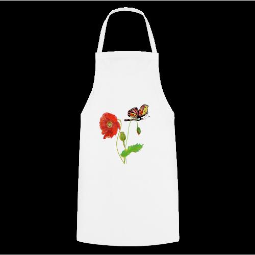 Mohnblumen und Schmetterling - Kochschürze