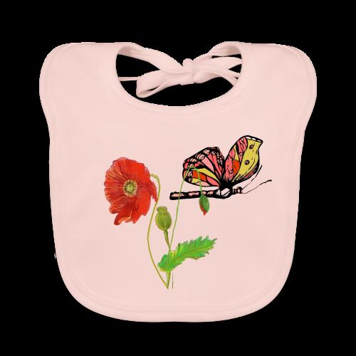 Mohnblumen und Schmetterling - Baby Bio-Lätzchen