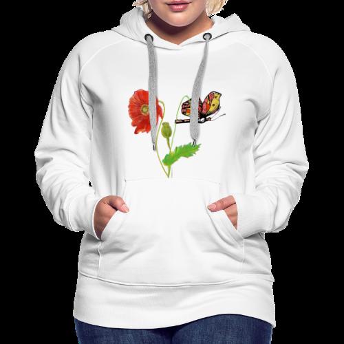 Mohnblumen und Schmetterling - Frauen Premium Hoodie