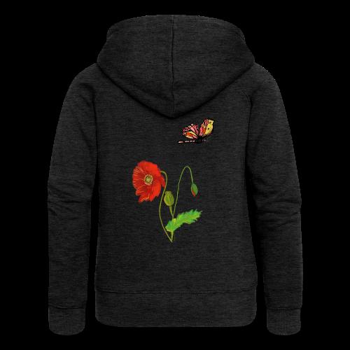 Mohnblumen und Schmetterling - Frauen Premium Kapuzenjacke