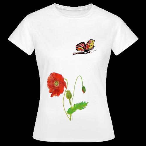 Mohnblumen und Schmetterling - Frauen T-Shirt