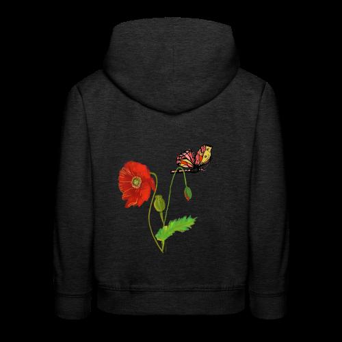Mohnblumen und Schmetterling - Kinder Premium Hoodie