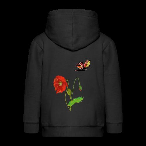 Mohnblumen und Schmetterling - Kinder Premium Kapuzenjacke