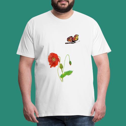 Mohnblumen und Schmetterling - Männer Premium T-Shirt