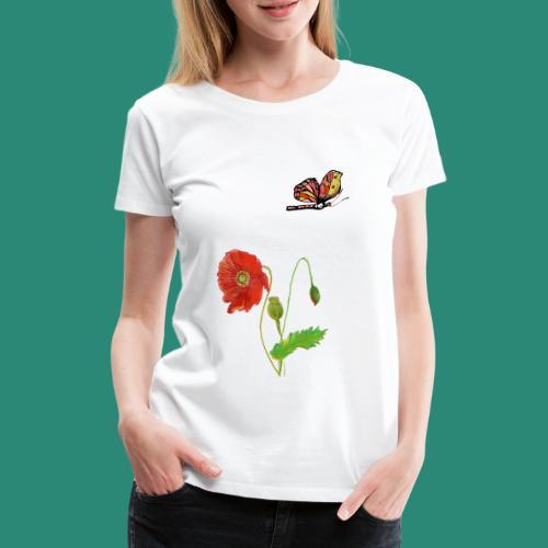 Mohnblumen und Schmetterling - Frauen Premium T-Shirt
