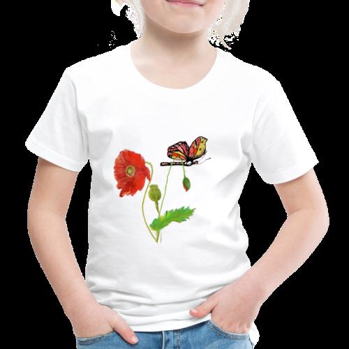 Mohnblumen und Schmetterling - Kinder Premium T-Shirt