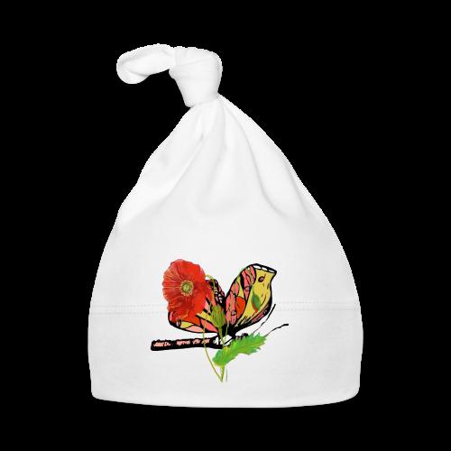 Mohnblumen und Schmetterling - Baby Mütze