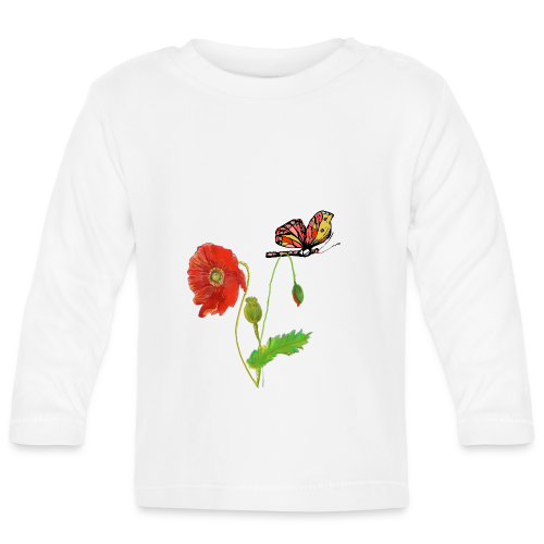 Mohnblumen und Schmetterling - Baby Langarmshirt