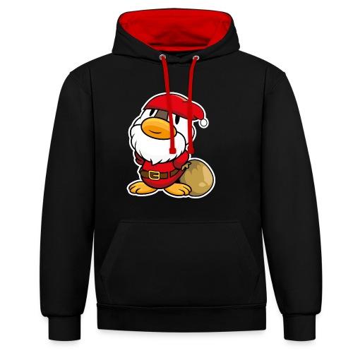 Lustige kleine Ente als Weihnachtsmann Tassen & Zubehör - Kontrast-Hoodie