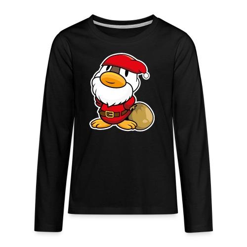 Lustige kleine Ente als Weihnachtsmann Tassen & Zubehör - Teenager Premium Langarmshirt