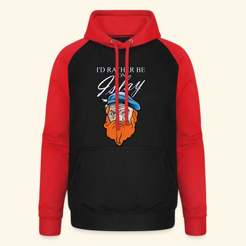 Whisky Fan T-Shirt I'd rather be on Islay - Unisex Baseball Hoodie