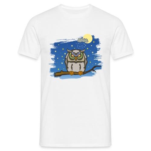 Eule Uhu Nachtschwärmer Vollmond Regenwolke Sterne - Men's T-Shirt