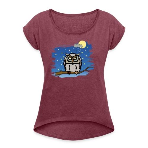 Eule Uhu Nacht Vollmond Regen Wolke Sterne Himmel - Women's T-Shirt with rolled up sleeves