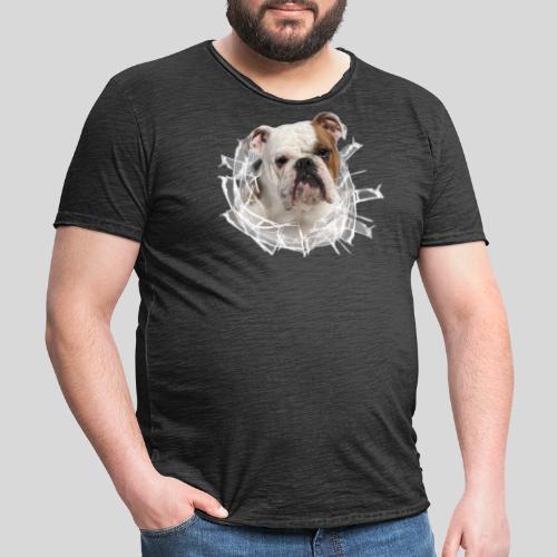 Englische Bulldogge *Glas-Loch* - Männer Vintage T-Shirt