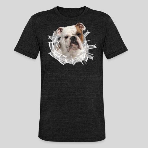 Englische Bulldogge *Glas-Loch* - Unisex Tri-Blend T-Shirt von Bella + Canvas