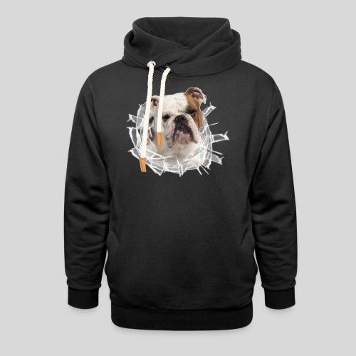 Englische Bulldogge *Glas-Loch* - Schalkragen Hoodie