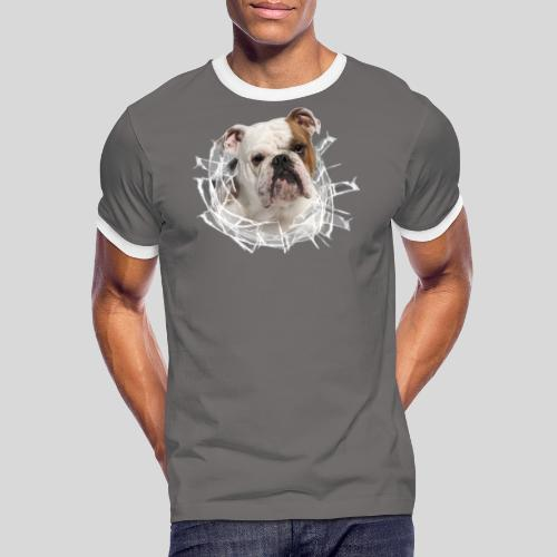 Englische Bulldogge *Glas-Loch* - Männer Kontrast-T-Shirt