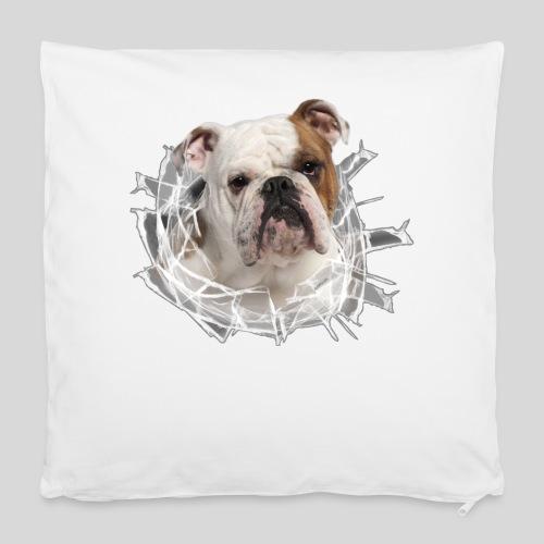 Englische Bulldogge *Glas-Loch* - Kissenbezug 40 x 40 cm