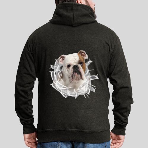 Englische Bulldogge *Glas-Loch* - Männer Premium Kapuzenjacke