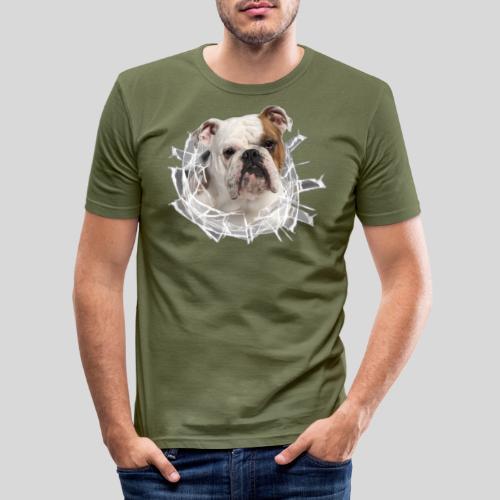 Englische Bulldogge *Glas-Loch* - Männer Slim Fit T-Shirt