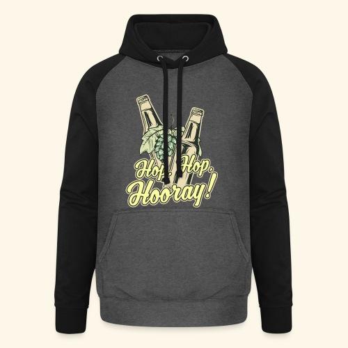 Craft Beer T-Shirt Hop, Hop, Hooray! - Unisex Baseball Hoodie