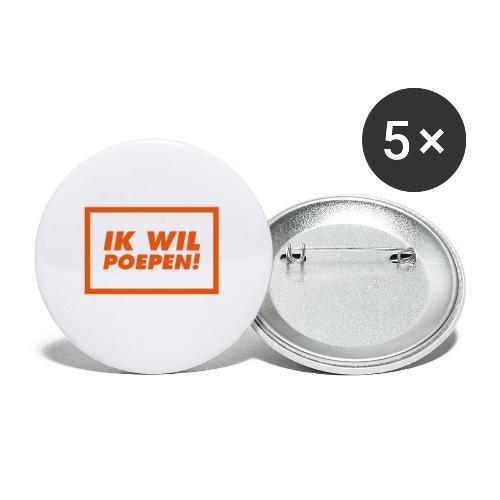 ik wil poepen! - t shirt - Lot de 5 moyens badges (32 mm)