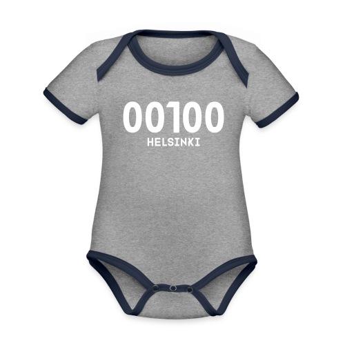 00100 HELSINKI - Vauvan kontrastivärinen, lyhythihainen luomu-body