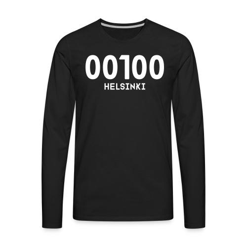 00100 HELSINKI - Miesten premium pitkähihainen t-paita