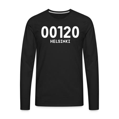 00120 HELSINKI - Miesten premium pitkähihainen t-paita
