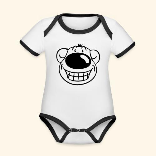 Bär grinst frech - Baby Bio-Kurzarm-Kontrastbody